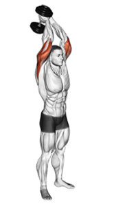 Dumbbell overhead two-hand triceps extension