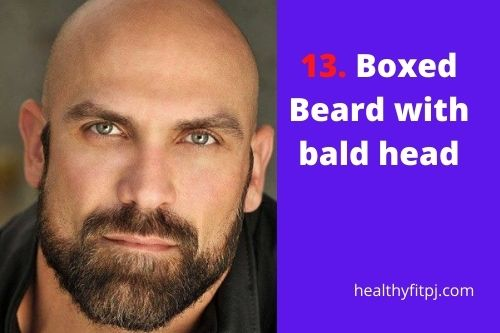 Boxed Beard with bald head