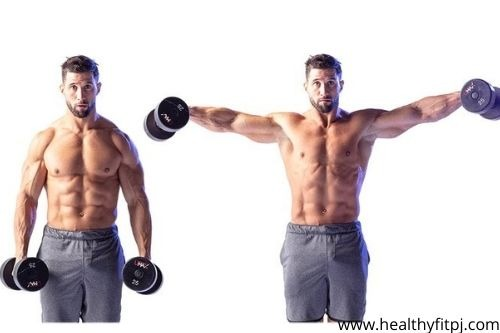 Standing lateral raise with dumbbell